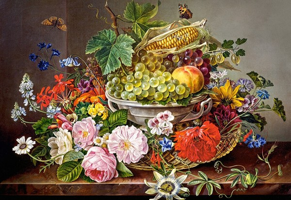 Image of   Flowers and Fruit Basket