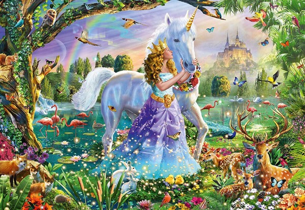 Image of   Princess, Unicorn and Castle